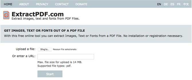 Exstract PDF trova font