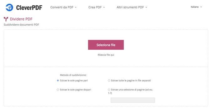 dividere pdf online con cleverpdf