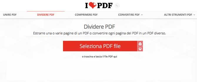 dividere pdf online con ilovepdf
