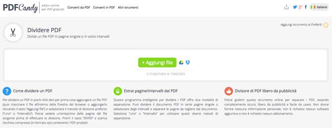 dividere pdf online con pdfcandy