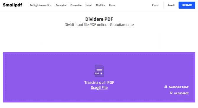 dividere pdf online con smallpdf