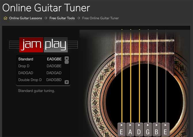 Online Guitar Tuner (by JamPlay)