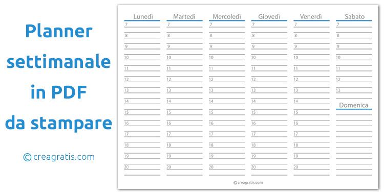 Planner settimanale in PDF da stampare